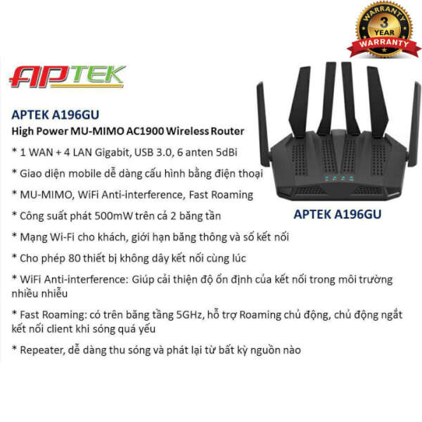 APTEK Gigabit Wireless Router AC1900 A196GU
