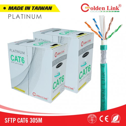 Cáp mạng Golden Link SFTP Cat6 Platinum (Xanh lá)